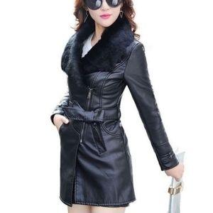 Fashion Nova Women's Fur Lined Leather Jacket NWOT